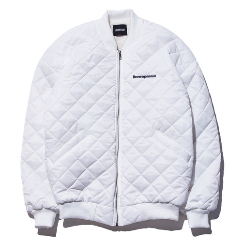 Square quilting MA-1 jacket white