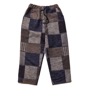Brushed check pants navy